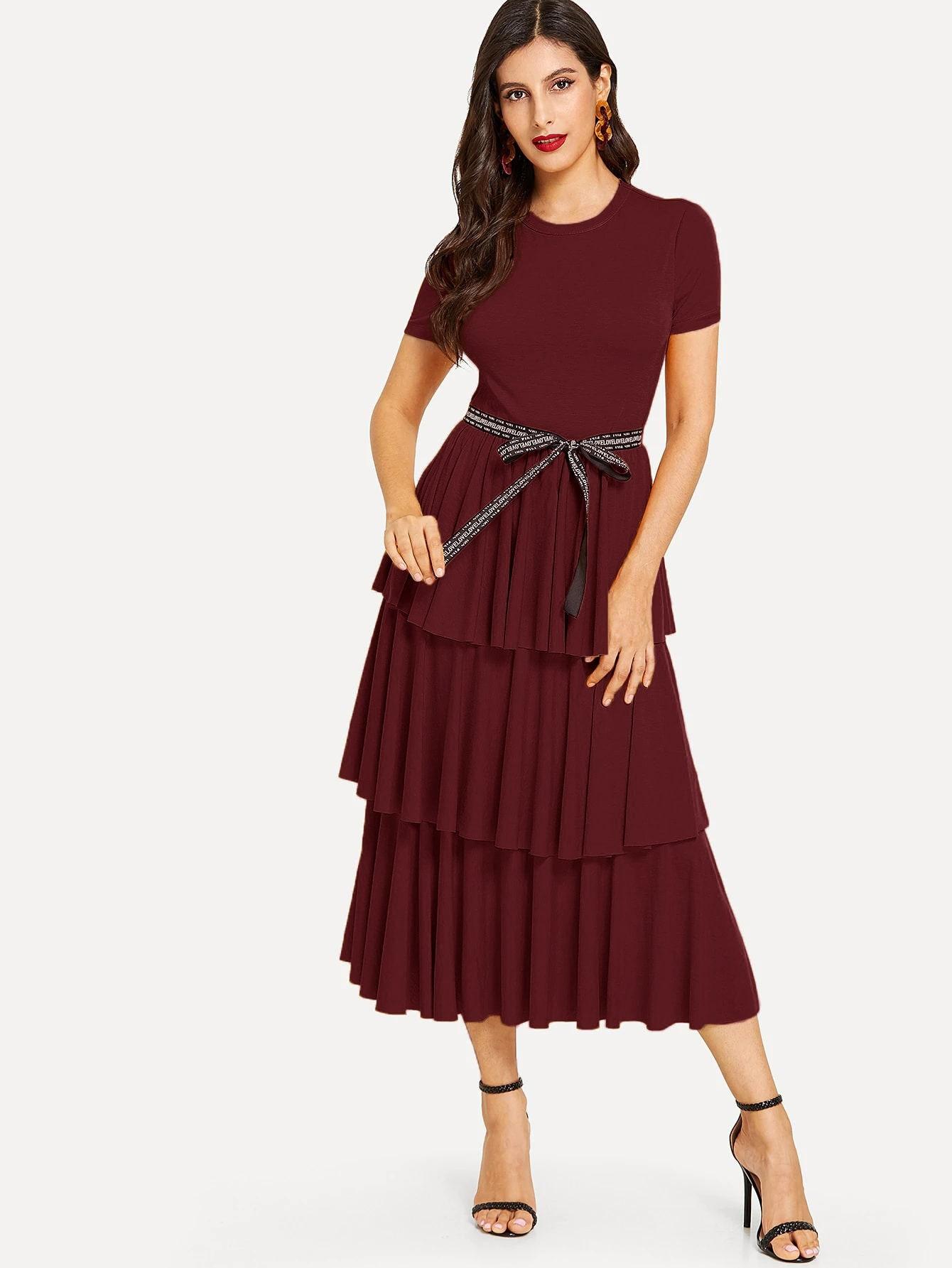 Фото - Платье в складку с узелом от SheIn цвет бургундия