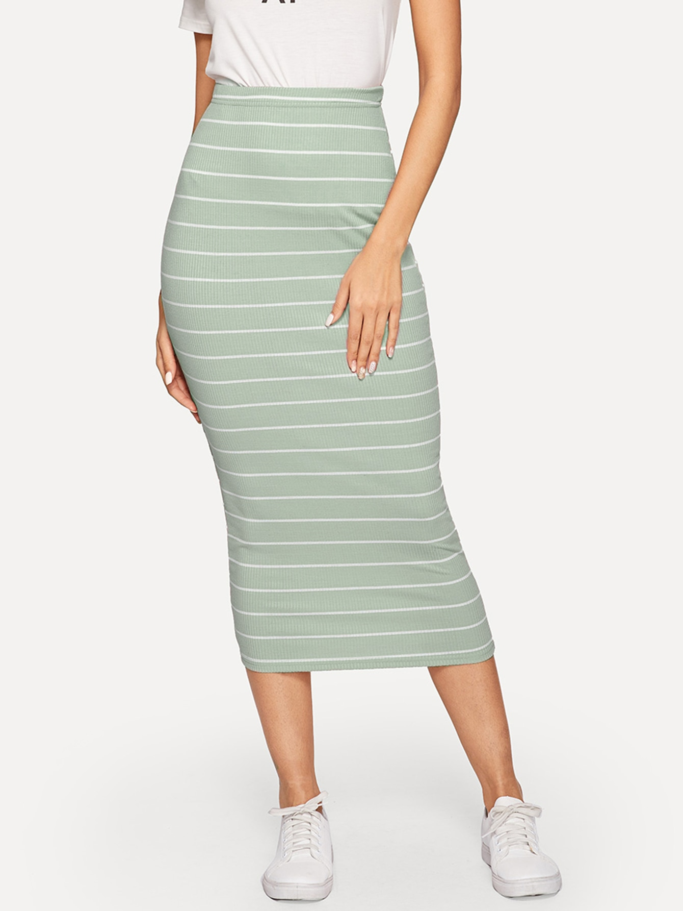 Фото - Вязаная ребристая юбка с высокой талией и полосой от SheIn синего цвета