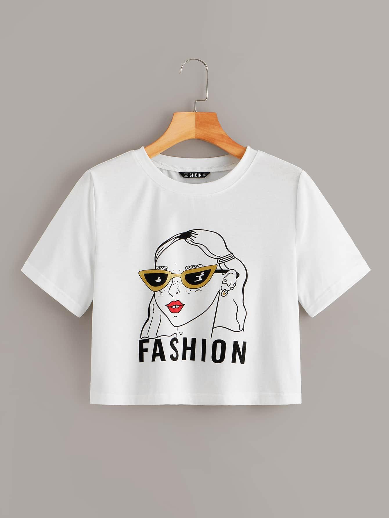 Фото - Кроп футболка с графическим и текстовым принтом от SheIn белого цвета