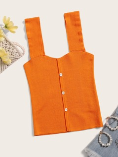 Neon Orange Rib-Knit Button Front Tank Top