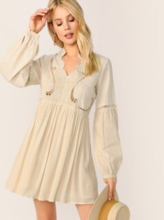 Ladder Trim Long Sleeve Boho Peasant Dress