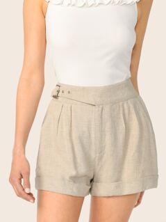 Belted Pleated Waist Cuffed Hem Linen Shorts