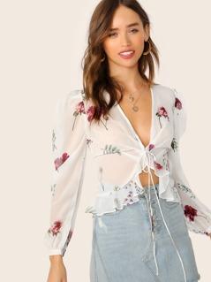 V-Neck Tie Front Ruffle Hem Sheer Floral Blouse