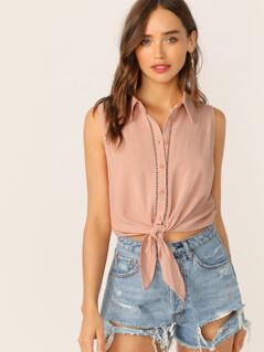 Ladder Trim Button Front Tie Hem Sleeveless Top
