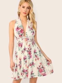 Halter V-Neck Braided Trim Flared Floral Dress