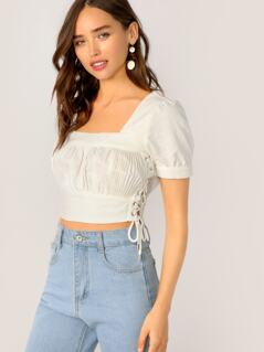 Square Neck Shirred Detail Short Sleeve Crop Top