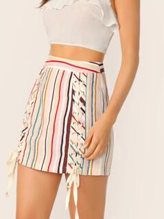 Lace Up Detail Back Zip Striped Pencil Mini Skirt