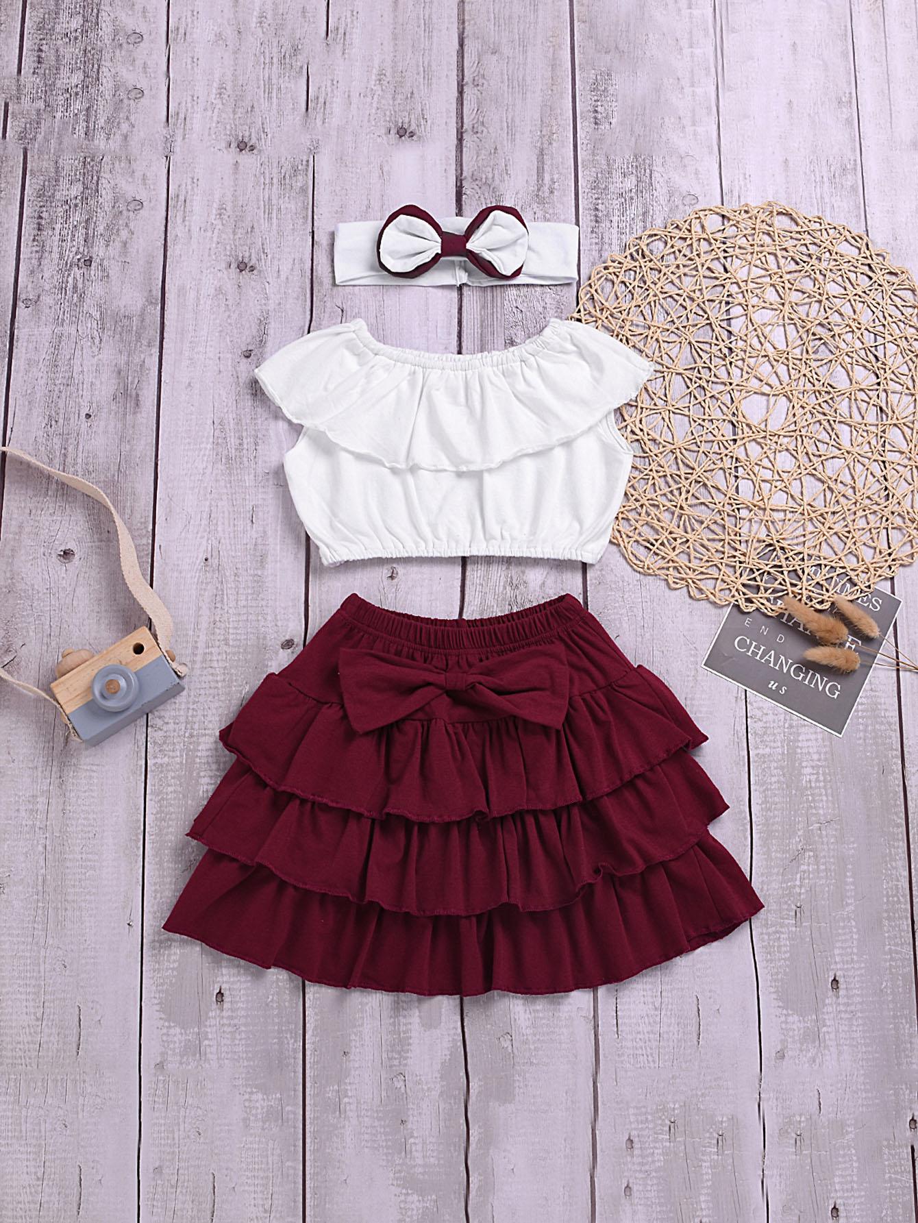 Фото - Топ с оборками и юбка и повязка на голову для маленьких девочек от SheIn цвет многоцветный