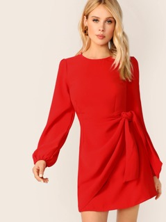 Round Neck Wrap Waist Tie Long Sleeve Mini Dress