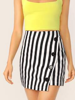 Side Button Closure Striped Mini Pencil Skirt