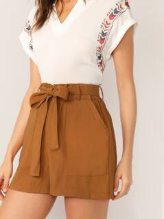 Waist Tie Side Pockets Lounge Shorts