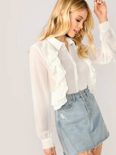 Pleated Ruffle Trim Long Sleeve Button Up Blouse