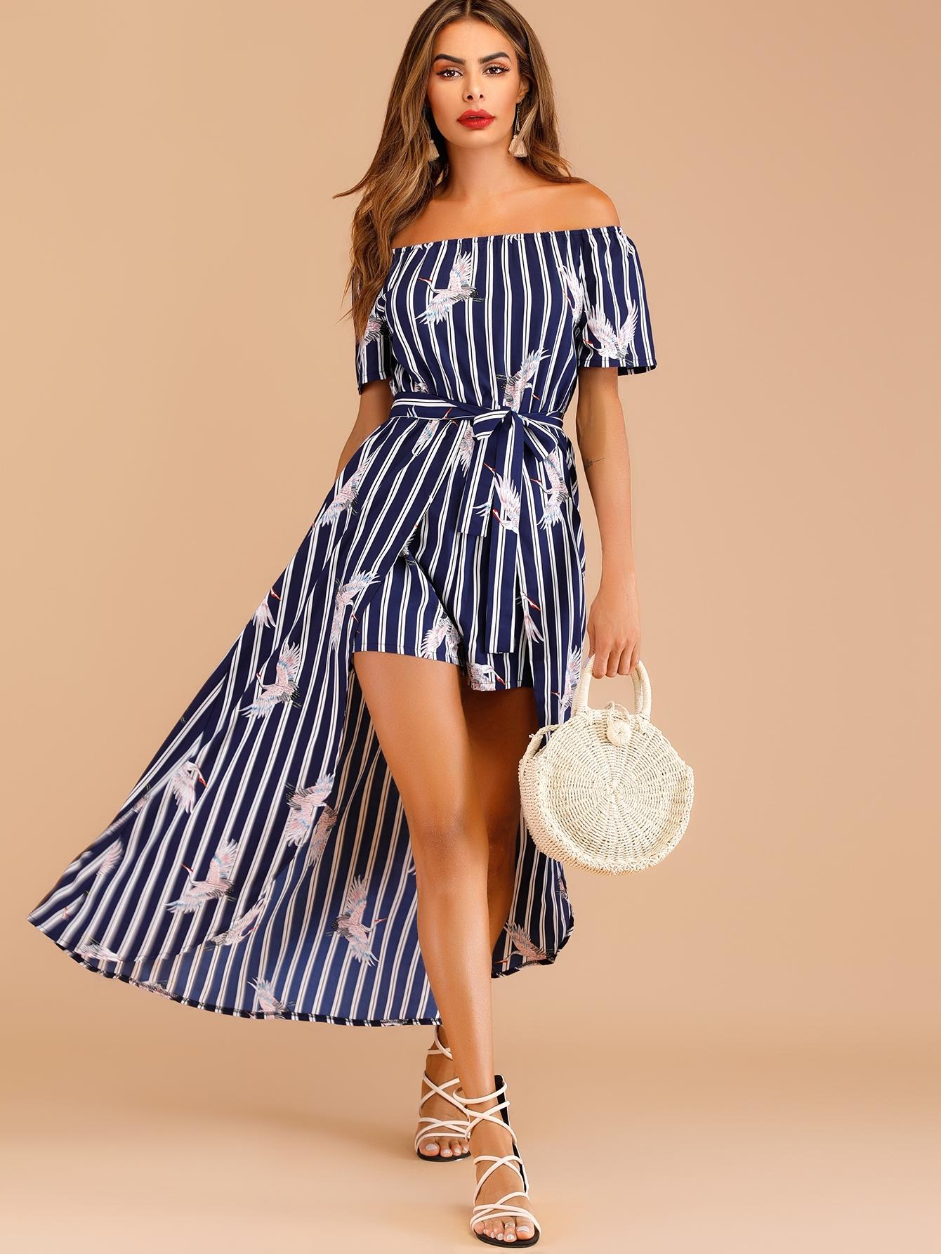 Купить Полосатое платье с поясом открытыми плечами и графическим принтом, Andy, SheIn