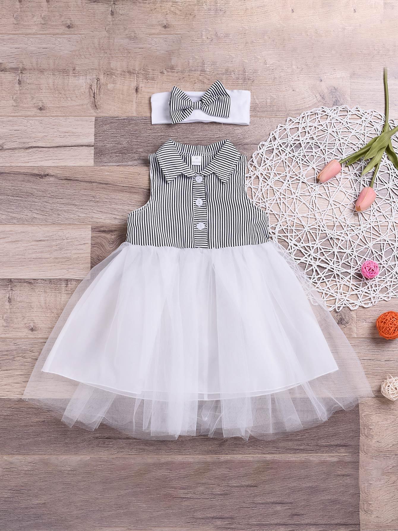 Фото - Полосатое платье онлайн с контрастной сетчатой вставкой и повязка на голову для маленьких девочек от SheIn цвет чёрнобелые