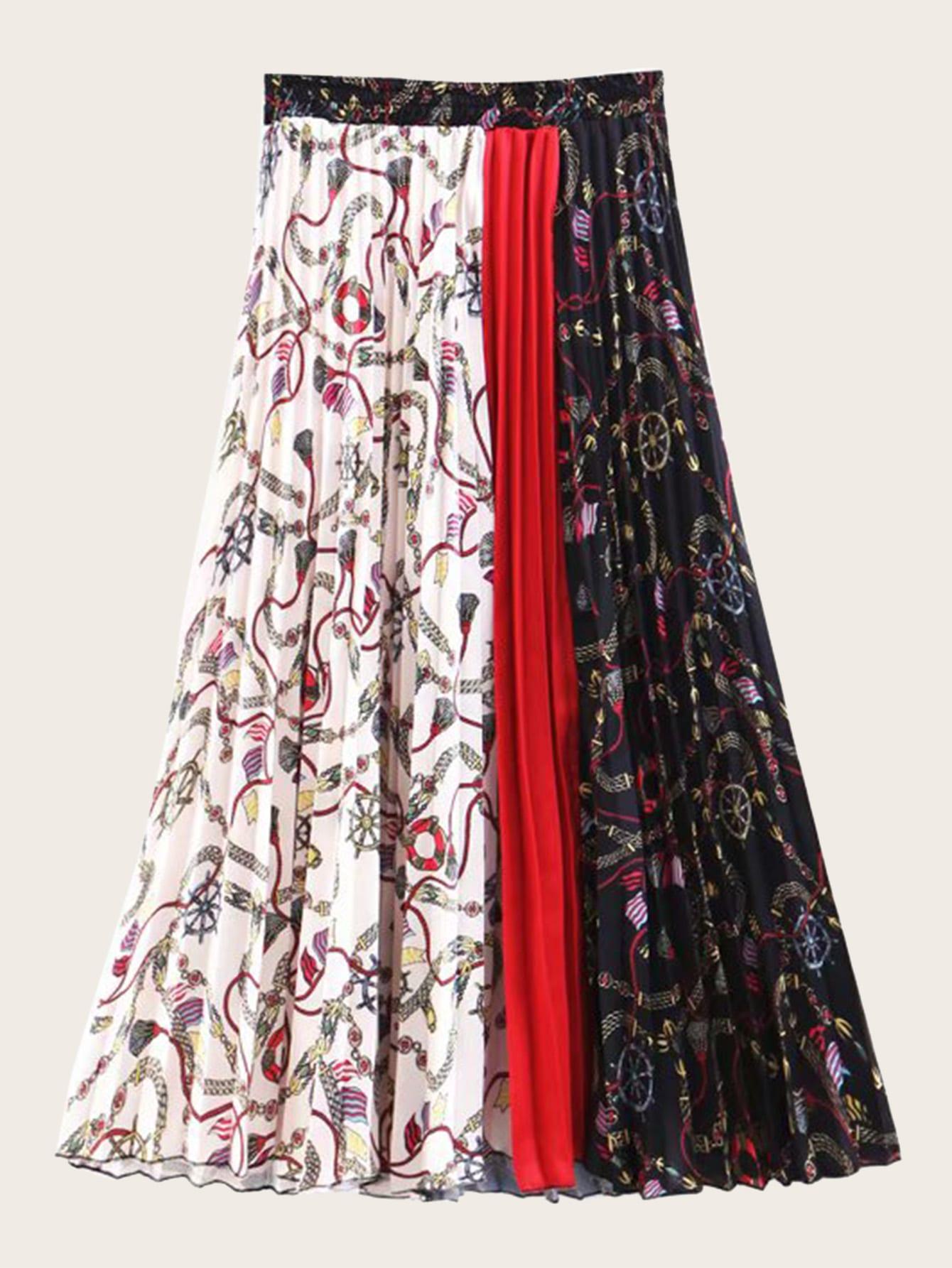 Фото - Плиссированная юбка с контрастным графическим принтом от SheIn цвет многоцветный