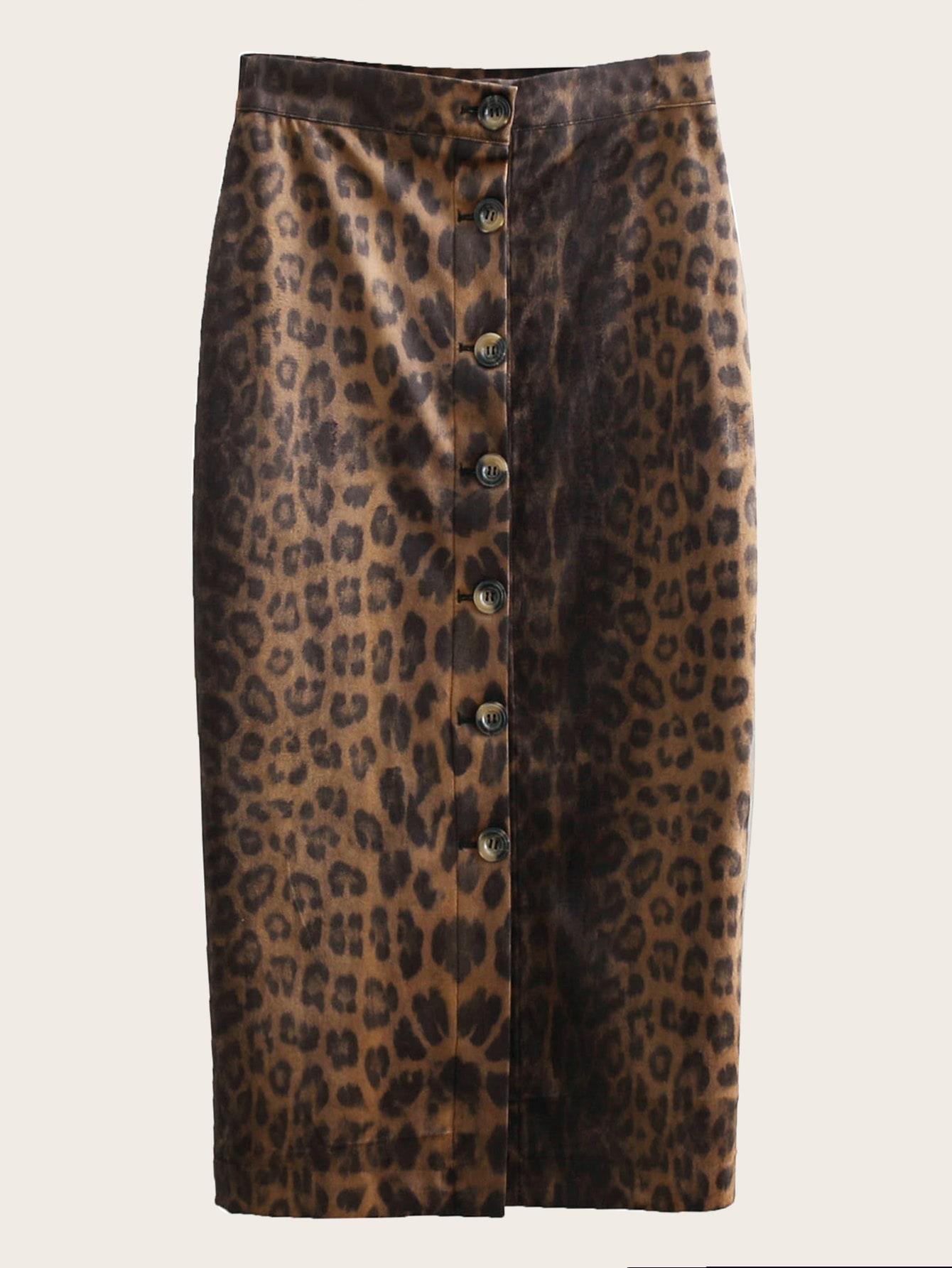 Фото - Однобортная леопардовая юбка от SheIn цвет многоцветный