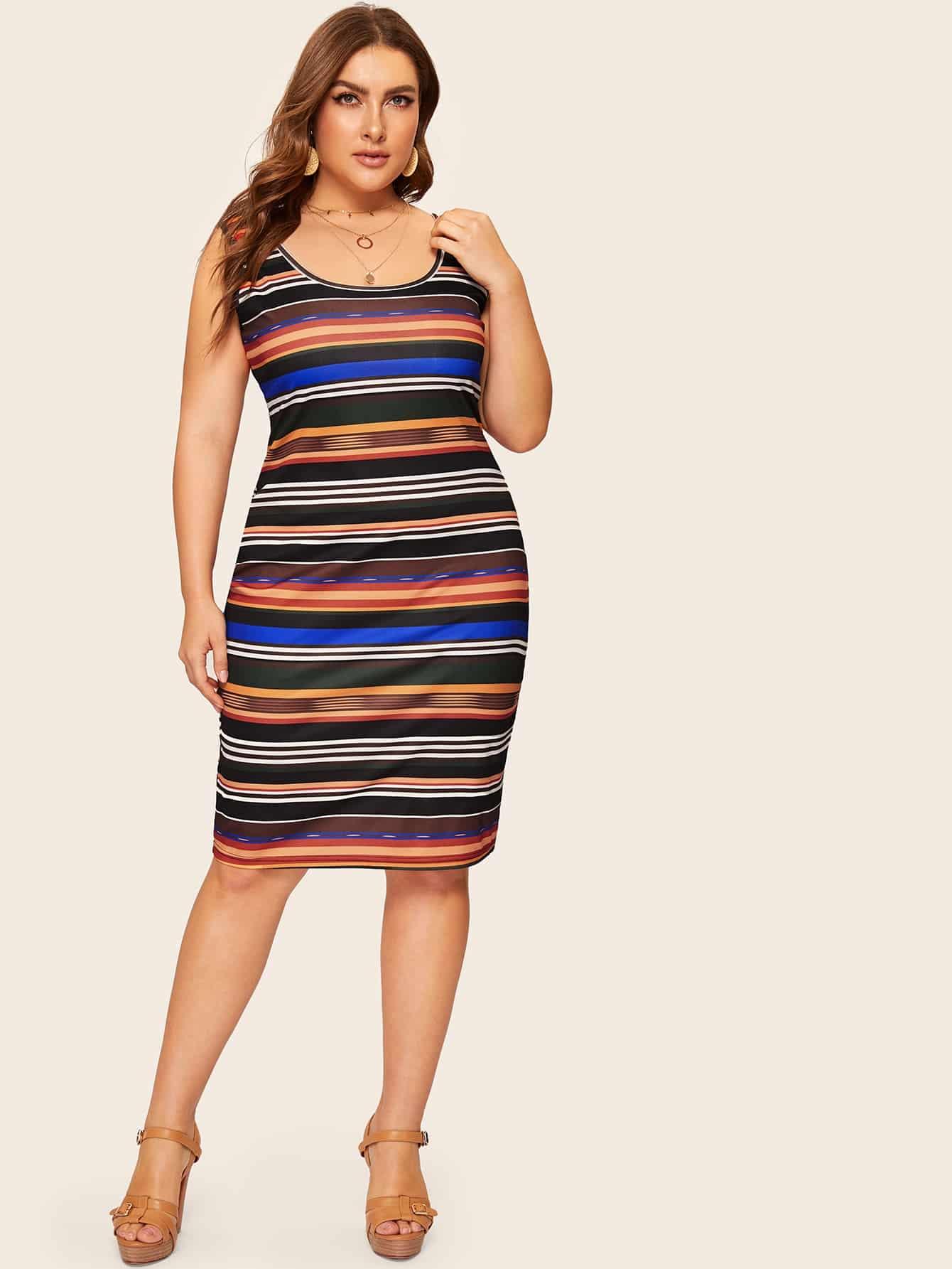 Размера плюс красочное полосатое платье-майка