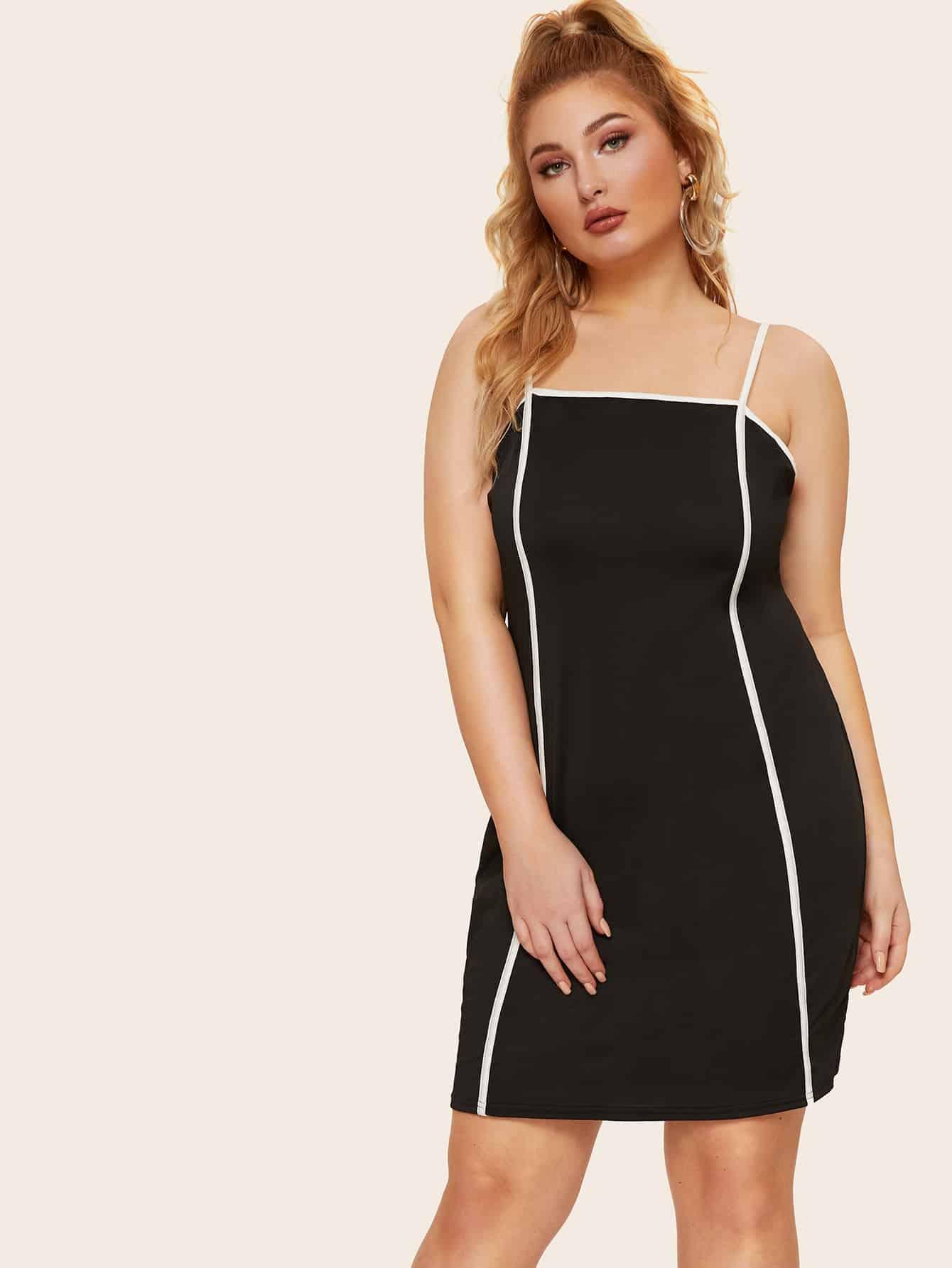 Фото - Размера плюс платье на бретелях с контрастной отделкой от SheIn цвет чёрные