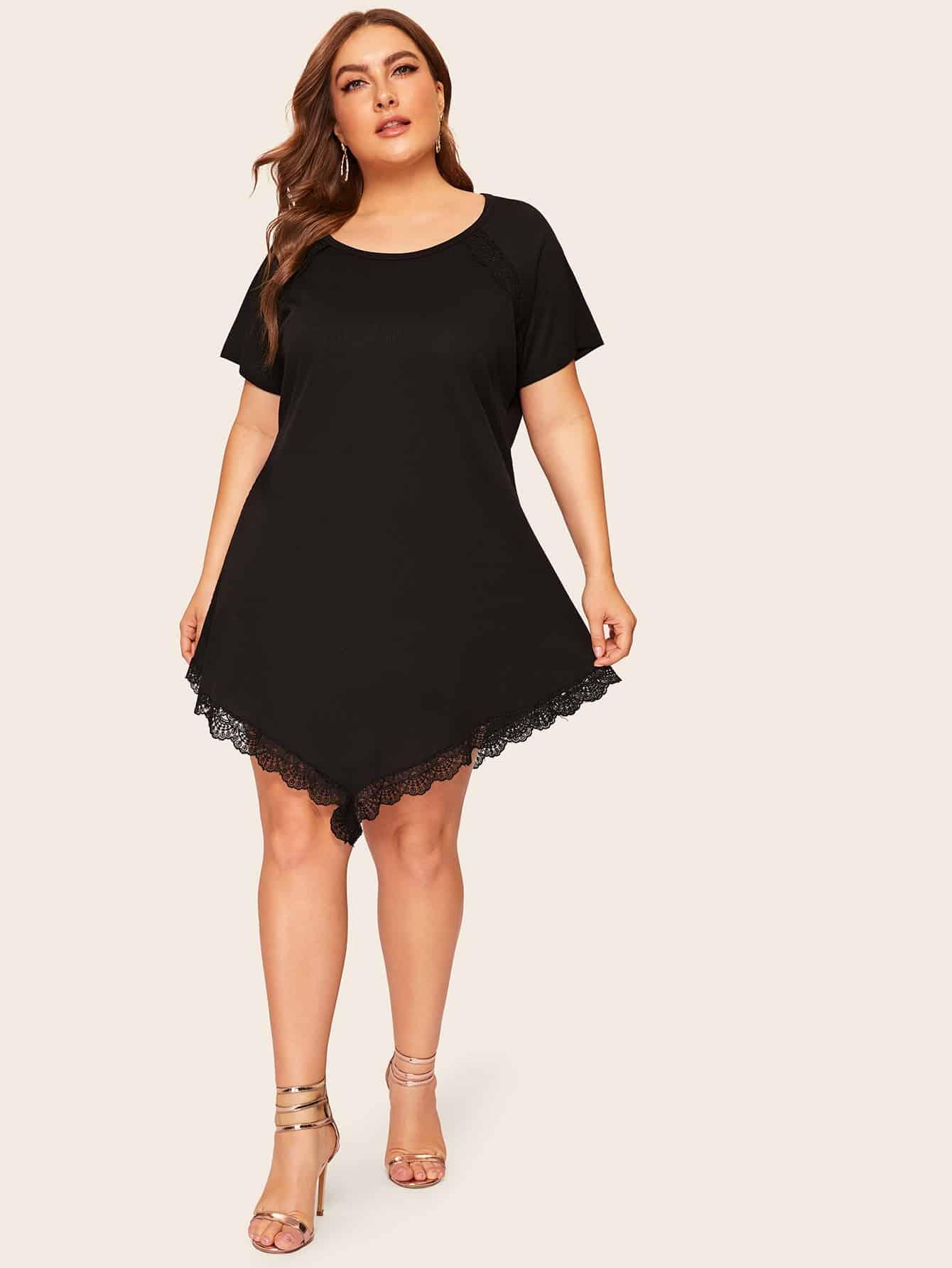 Размера плюс платье с контрастными кружевами и рукавом-регланом