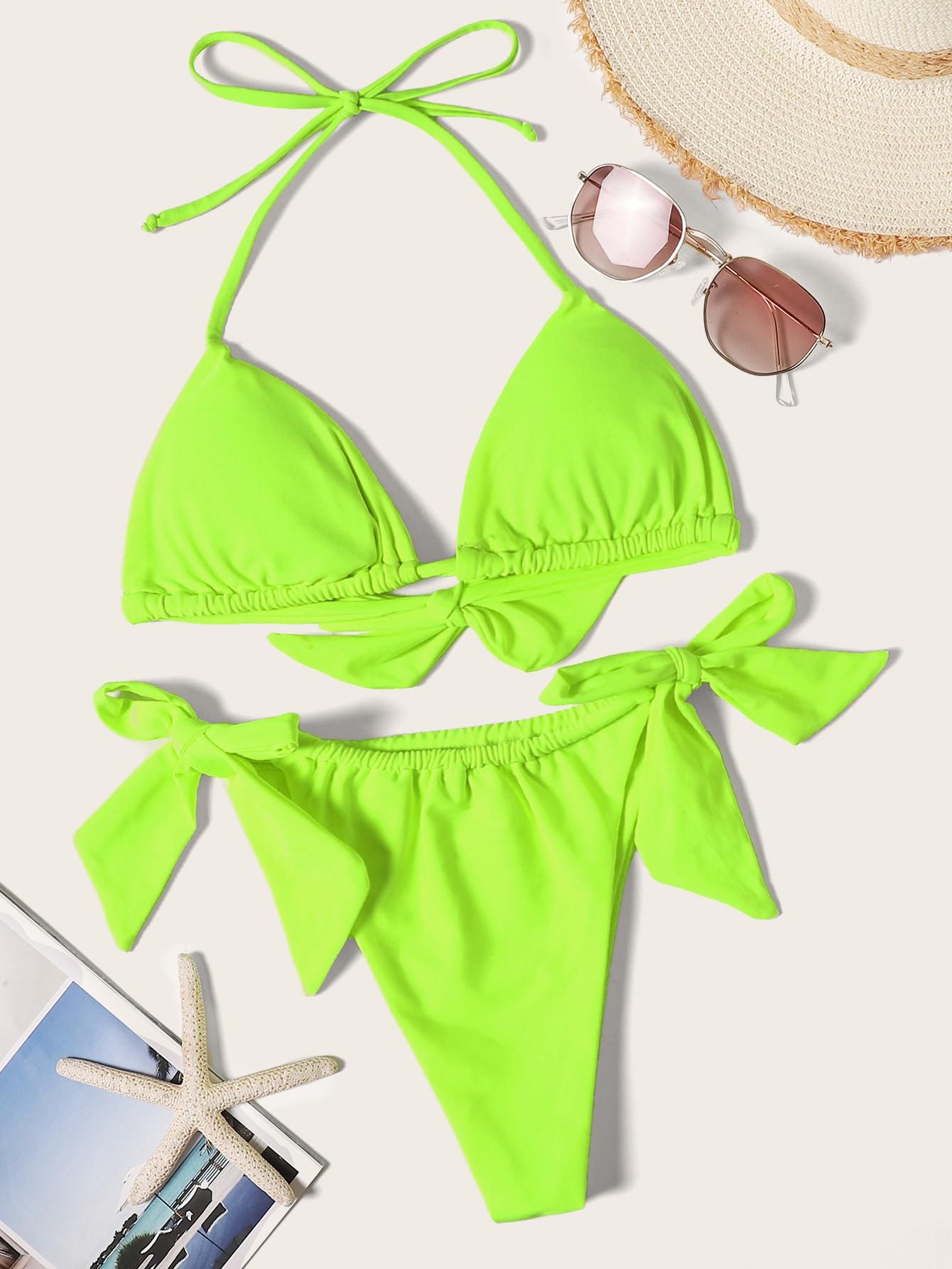 Фото - Бикини с треугольными чашечками и завязками по бокам от SheIn зеленого цвета