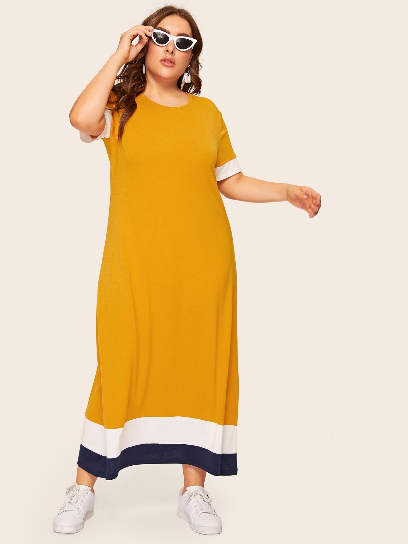 Размера плюс контрастное длинное платье