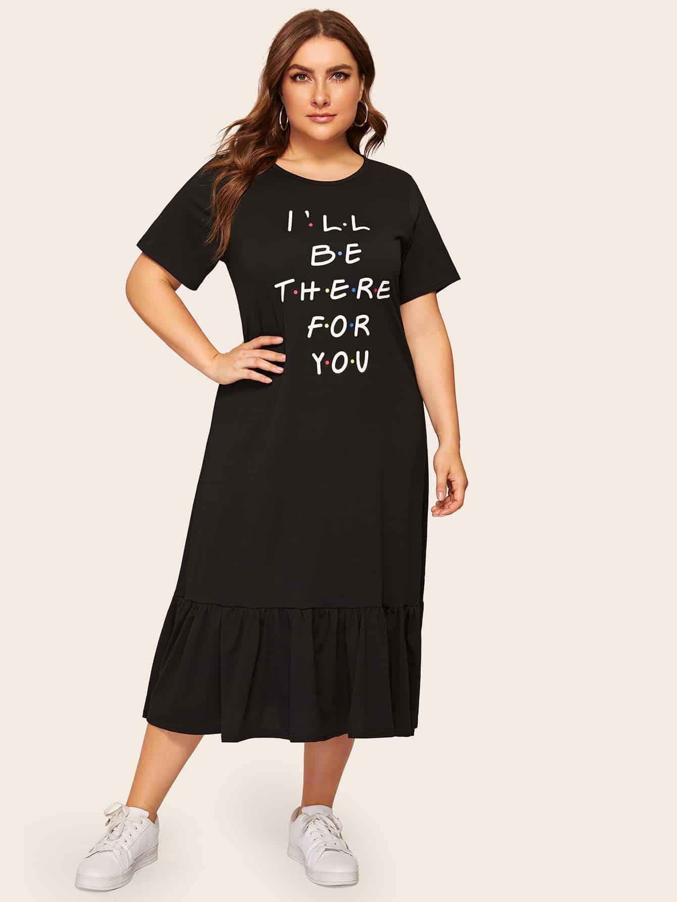 dd38347a64a Размера плюс платье с оборкой и текстовым принтом