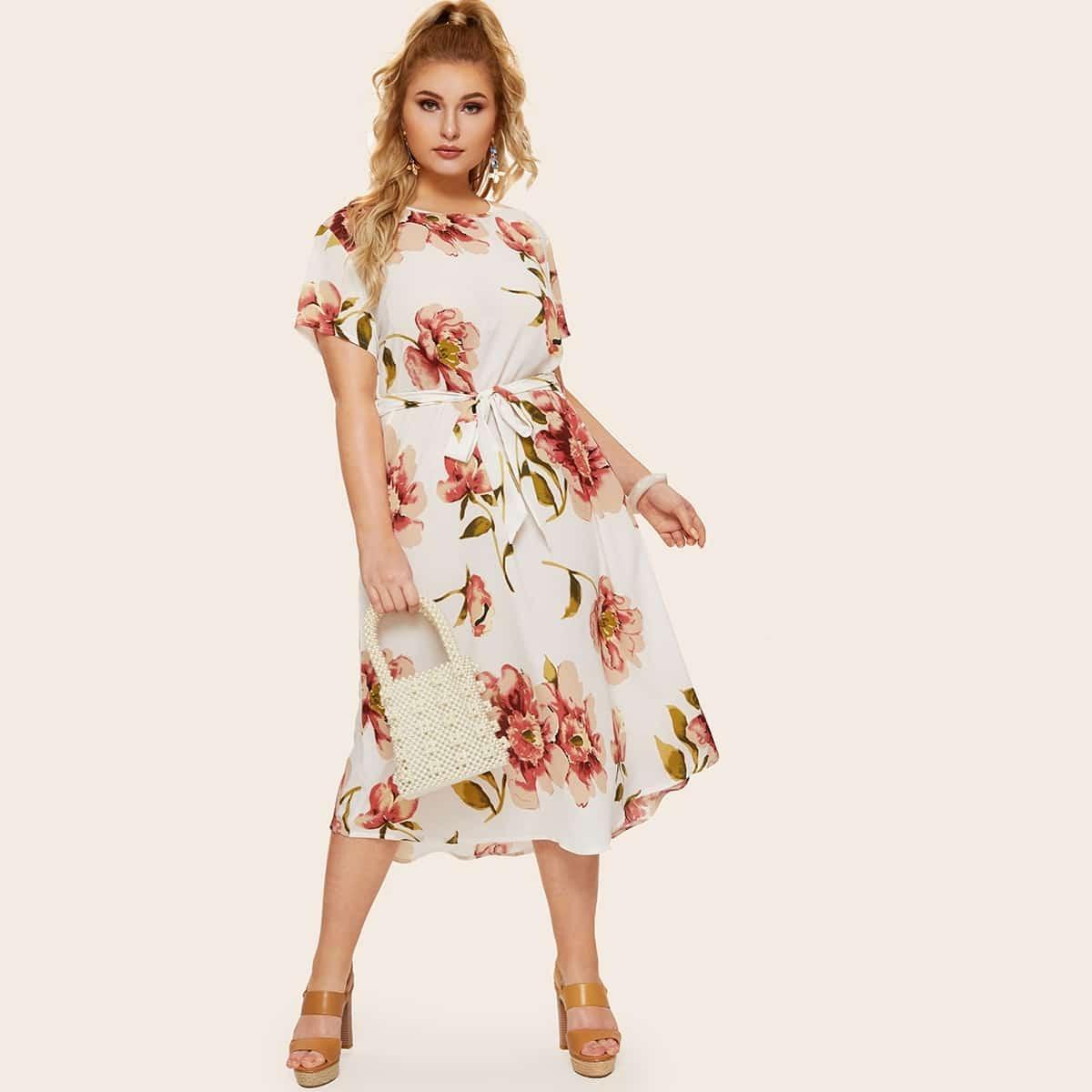 Veel kleurig Casual Bloemen Grote maten jurken Riem
