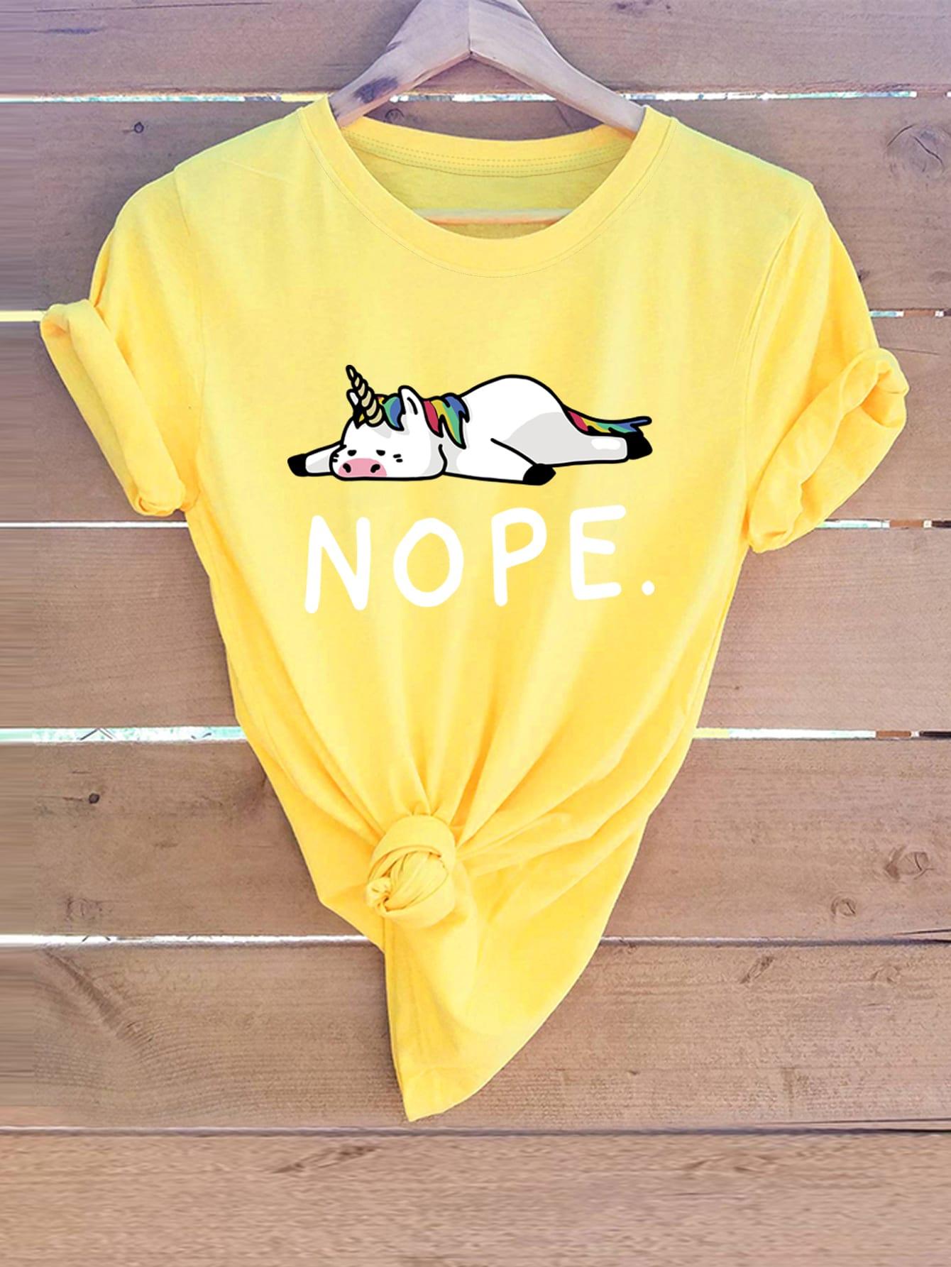 Фото - Размера плюс футболка с принтом единорога от SheIn цвет жёлтые