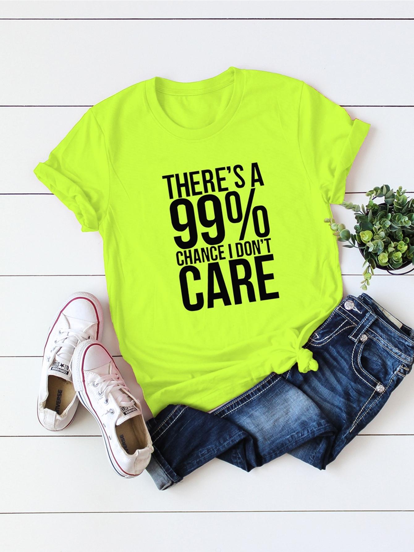 Фото - Размера плюс неоновая футболка с текстовым принтом от SheIn цвет зелёные