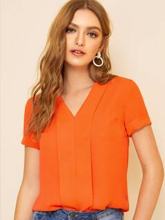 Neon Orange Cuffed Sleeve Top