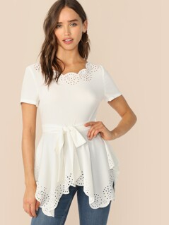 Scalloped Laser Cut Belted Peplum Top