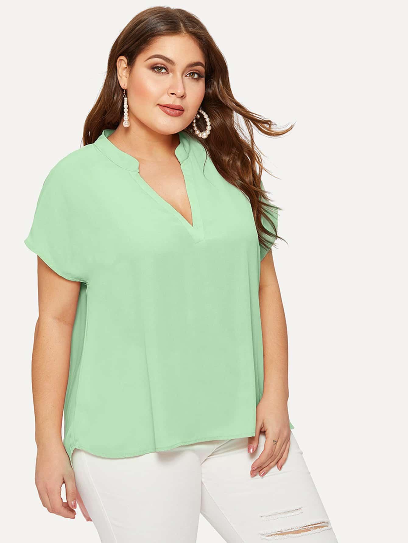 Фото - Размера плюс асимметричная однотонная блуза от SheIn цвет зелёные