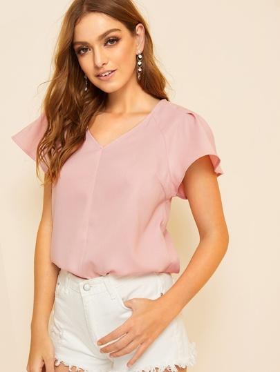 SheIn / Fold Pleat Sleeve Tunic Top