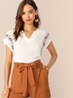 Cuffed Sleeve Embroidered Crepe Top