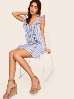 Ruffle Trim Button Up Striped Dress