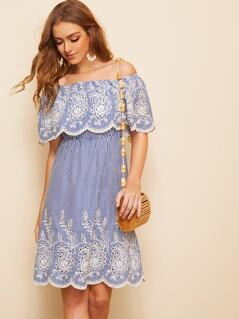 Lace Embroidered Elastic Scallop Waist Stripe Dress