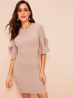50s Bow Embellished Bell Sleeve Bodycon Dress