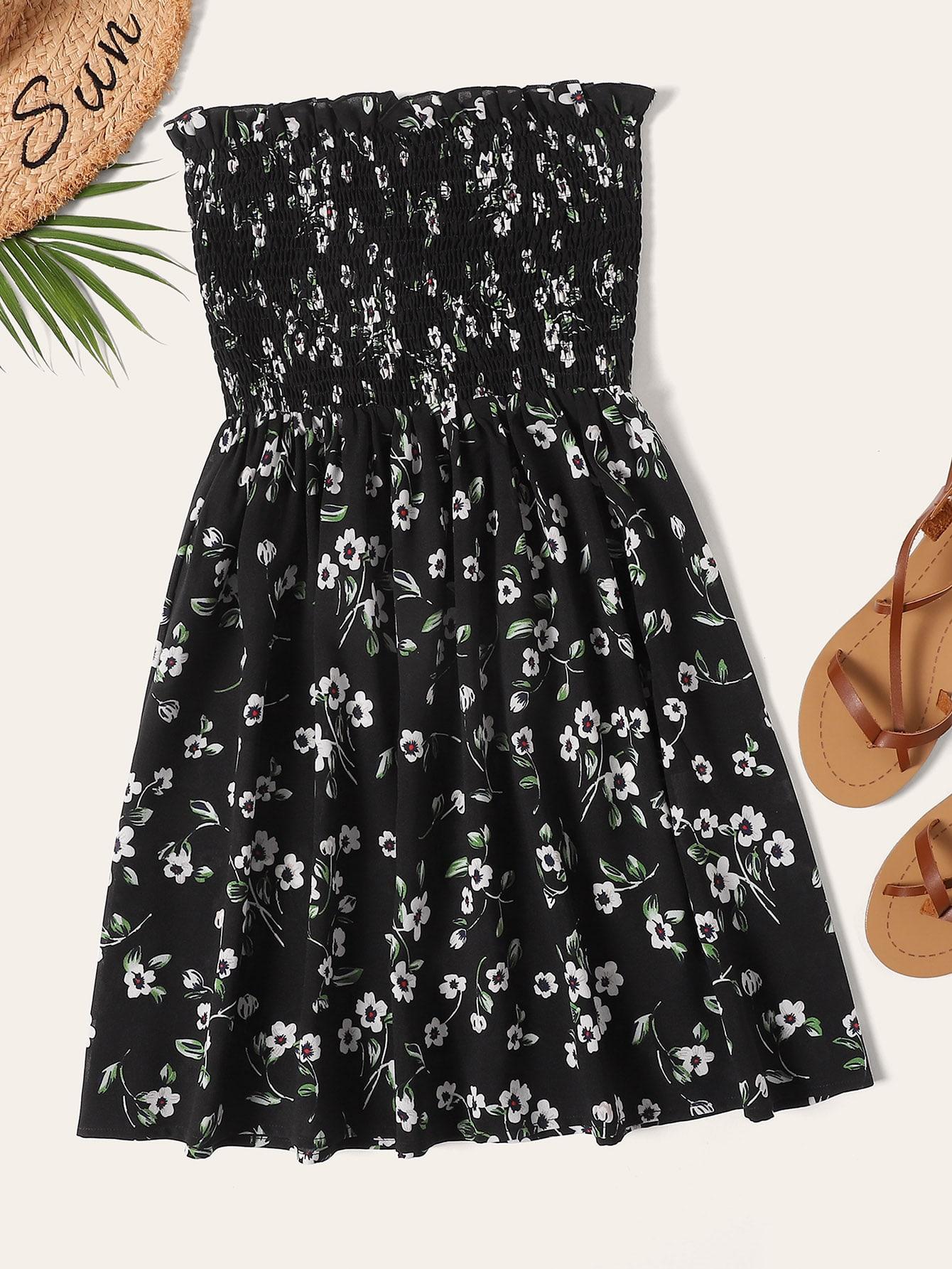 Фото - Платье с цветочным принтом и рюшами от SheIn цвет чёрные