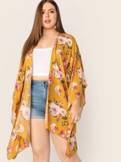 Plus Flower Print Kimono