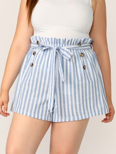 Plus Paperbag Waist Double Breasted Striped Shorts
