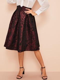 Notched Waist Boxy Pleated Jacquard Skirt