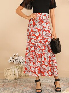 Wide Waist Single Breasted Flippy Hem Floral Skirt