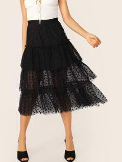 Wide Waist Frill Trim Layered Tulle Skirt