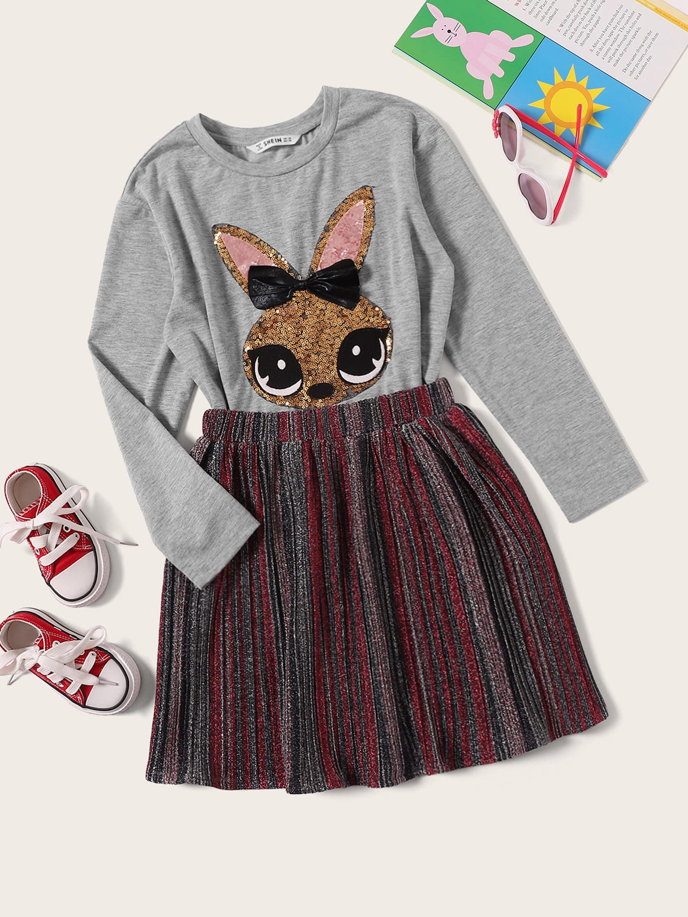 Купить Футболка с принтом кролика пайетки и блестящая юбка для девочек, null, SheIn