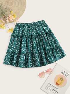 Frilled Trim Ditsy Floral Print Skater Skirt