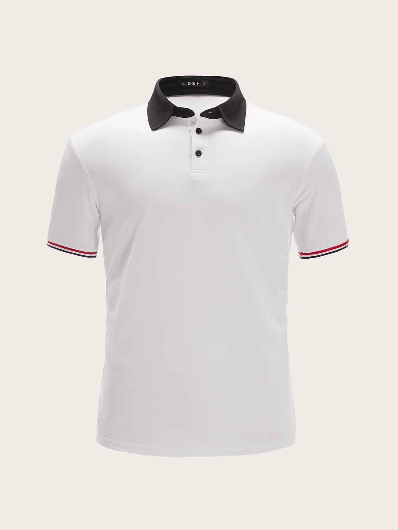 Купить Мужская рубашка-поло с контрастным воротником и полосатой манжетой, null, SheIn