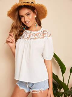 Guipure Lace Yoke Solid Top