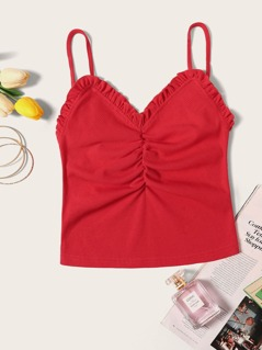 Frilled Trim Ruched Front Rib-knit Cami Top