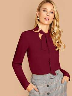 Tie Neck Single Breasted Blouse