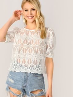 Scallop Hem Embroidered Organza Blouse